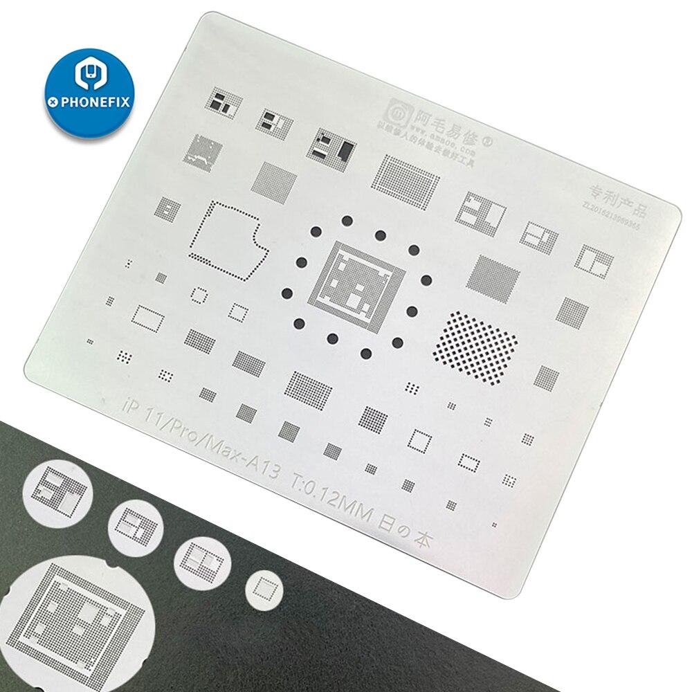 AMAOE Reballing Stencil For IPhone 11Pro MAX A13 CPU BGA Reballing For IPhone Repair Tin Planting Net Soldering Steel Net