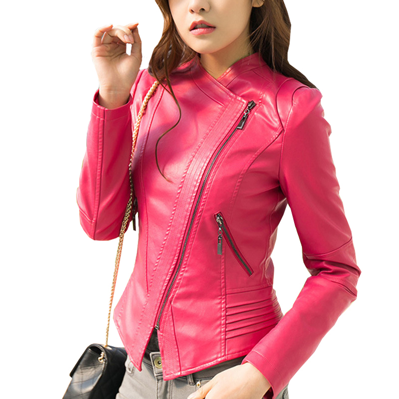 Spring Autumn PU Leather Jacket Women Chic Fashion Slim Short Coat Ladies Black Blue Pink Motorcycle Clothing Jackets Overcoat Leather Jackets  - AliExpress