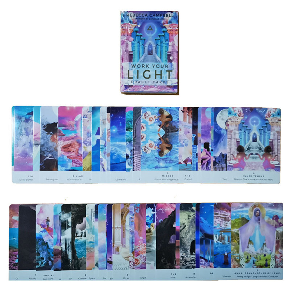 44pcs 2020 Original English Work Your Light Oracle Cards Full Party Playing Deck Card Board Game Guidance Divination Tarot Card