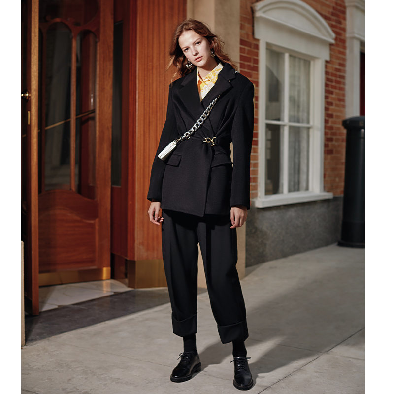 AEL black Woolen Blazer Women Suits Jacket Notched Collar Female Wrap Coat Fashion 2019 Autumn winter new