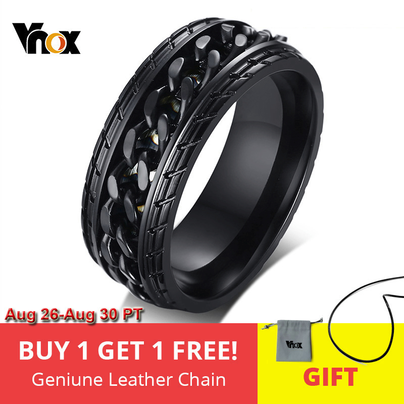 Vnox 8mm Cool Black Spinner Chain Ring for Men Tire Texture Stainless Steel Rotatable