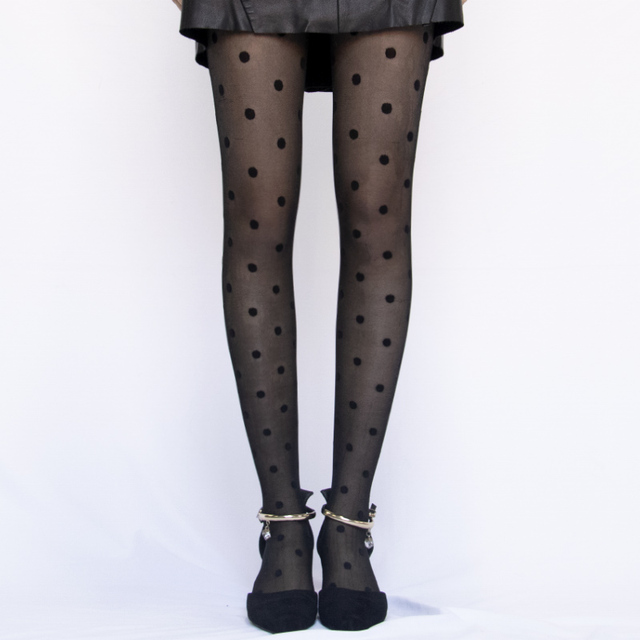 Japan Style Dot Patterned Women Pantyhose Fashion Sweet Girl Black Sexy Tights Female Stocking Transparent Silk Tights 4