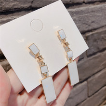 Fashion Geometric White Long Earrings For Women 2019 New Simple Oblong Classic