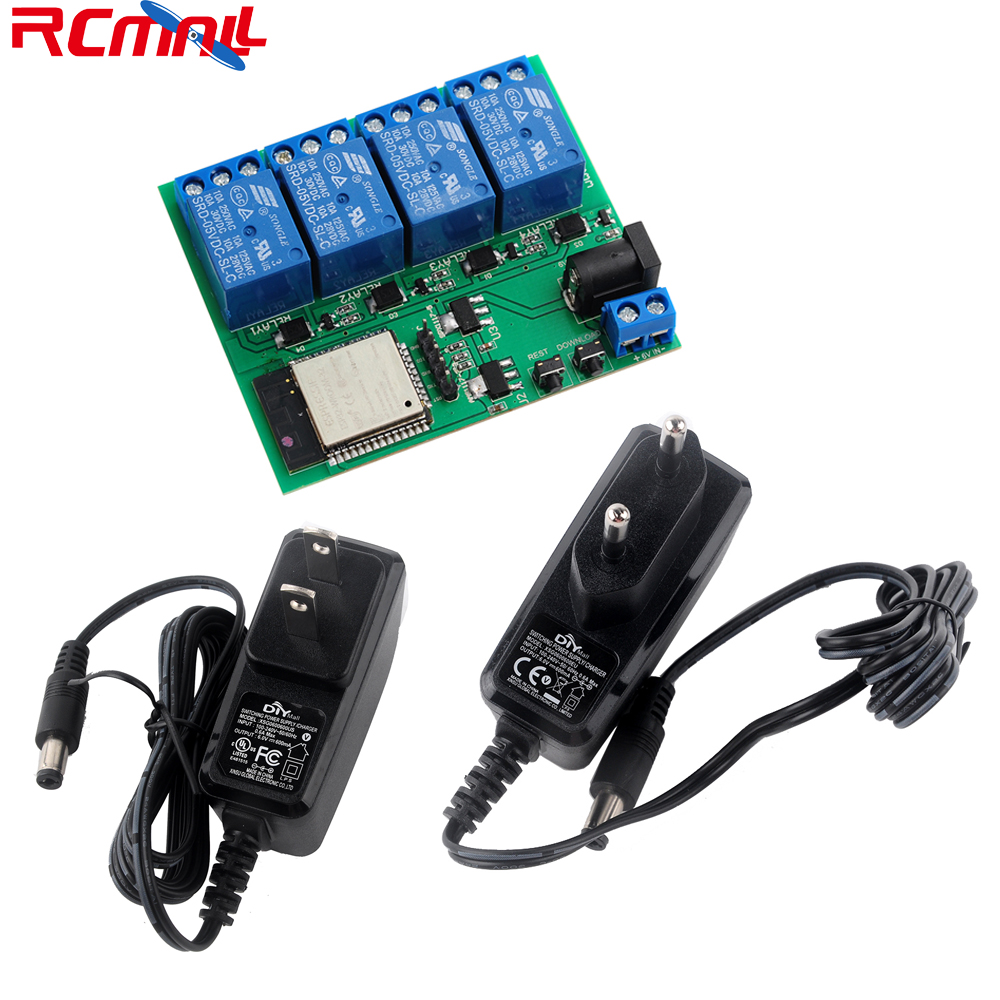 ESP32S 4 Channel Wifi Bluetooth Relay Module IOT Phone APP Control DC6V 0.6A 600mA Power Adapter US/EU Plug