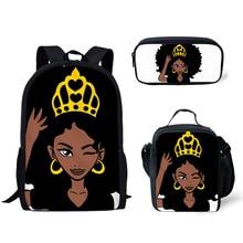 NOISYDESIGNS Black Queen African American Girls Print Women Backpack for Kids 3pcs/set Primary School Backpacks Children Bookbag