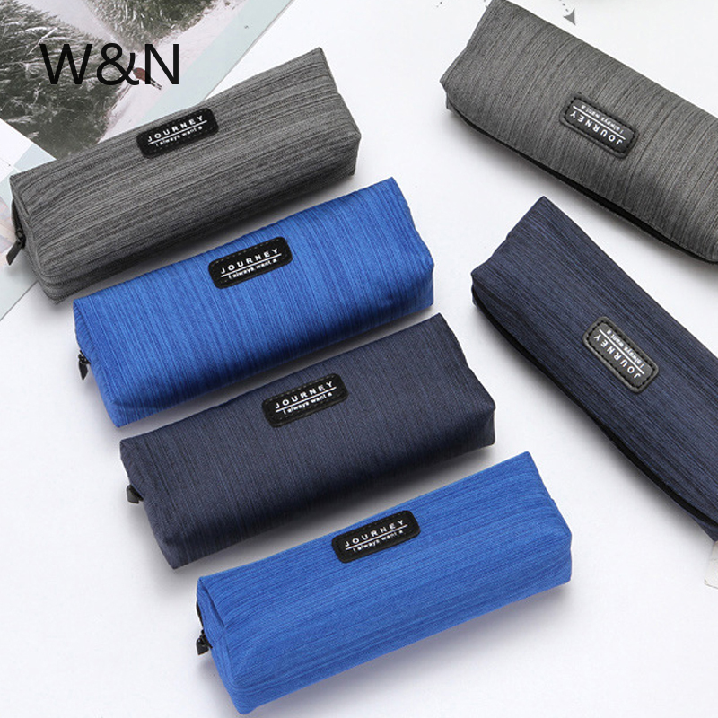 W&N Brand Canvas Blue Pencil Case Solid Color Stripes Simple Pencil Bags For Student New Stationery School Supplies Kids Gift