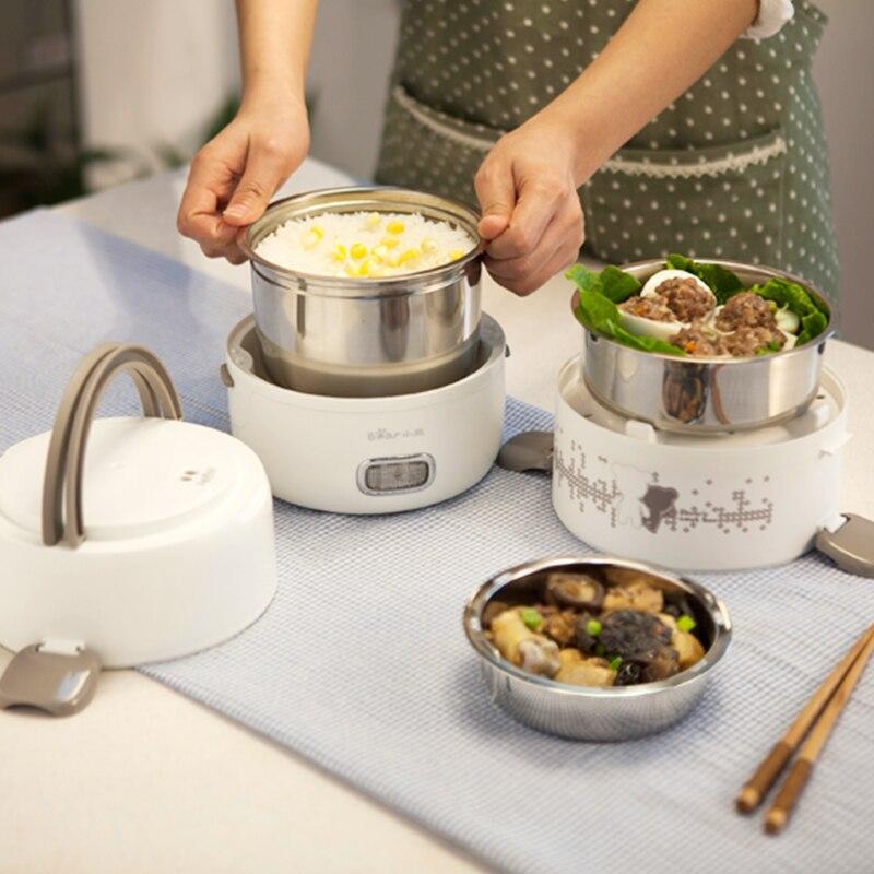 Boîte à déjeuner électrique 2L grande capacité Portable trois couches cuiseur à riz boîte à riz en acier inoxydable cuisson frais travail - 3