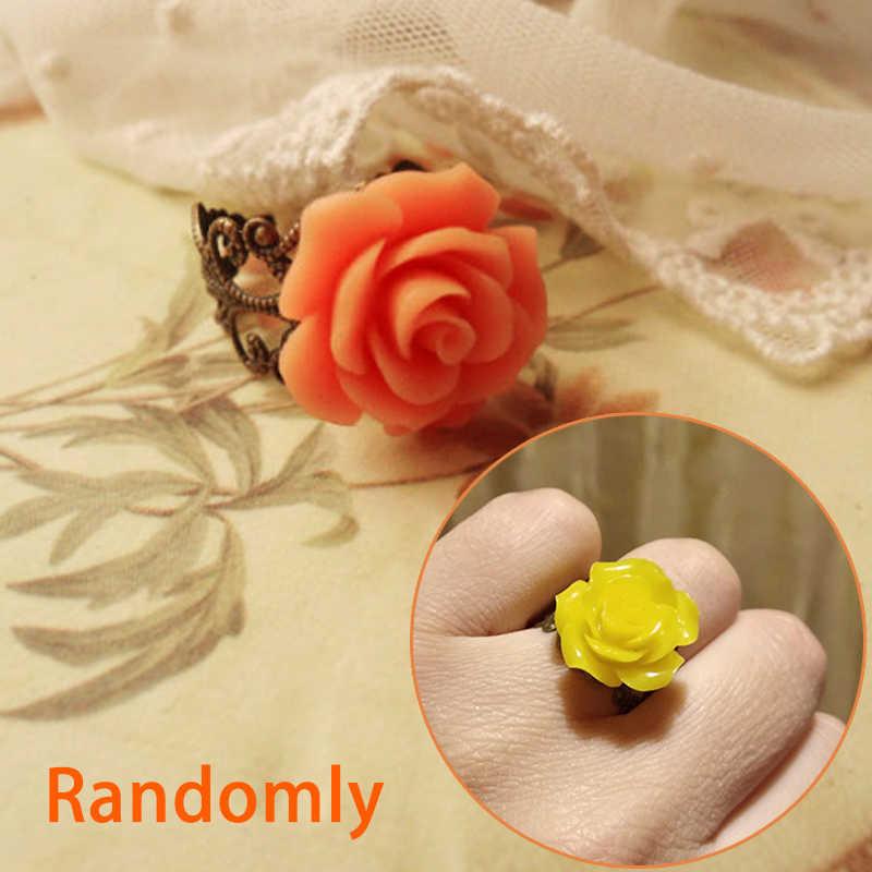 สไตล์โกธิค VINTAGE เครื่องประดับ Retro แหวนแฟชั่นผู้หญิงที่มีสีสัน Rose Hollow OUT ดอกไม้ปรับขนาดได้นิ้วมือแหวนโกธิค