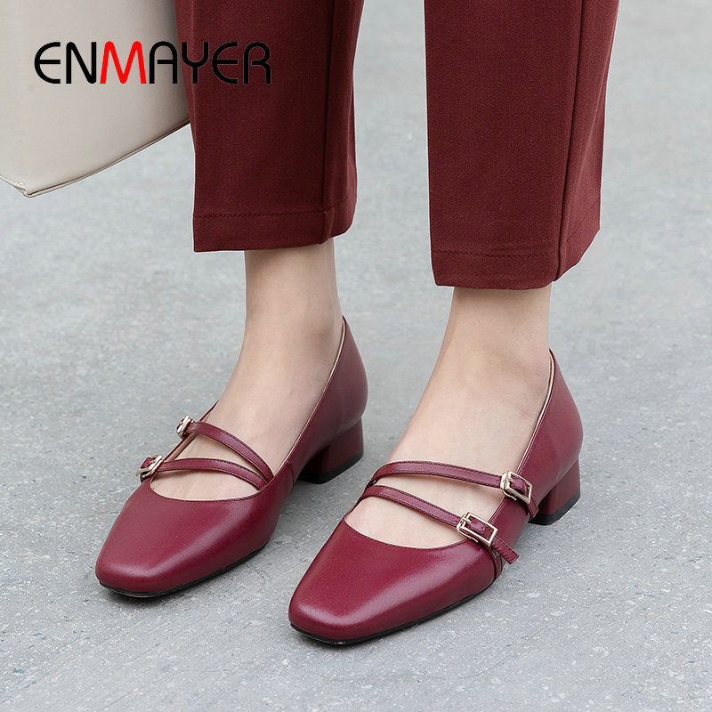 ENMAYER 2020 Round Toe Womens Shoes Buckle Strap Sweet Mary Janes Genuine Leather Square Heel Spring/Autumn Shoes Woman 34-39
