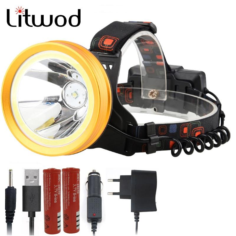Litwod Z20 136 & 9010 LED Headlamp XM-L T6 & COB Aluminum Cup 18650 Battery Reflector Head Lamp Flashlight Torch Powerful