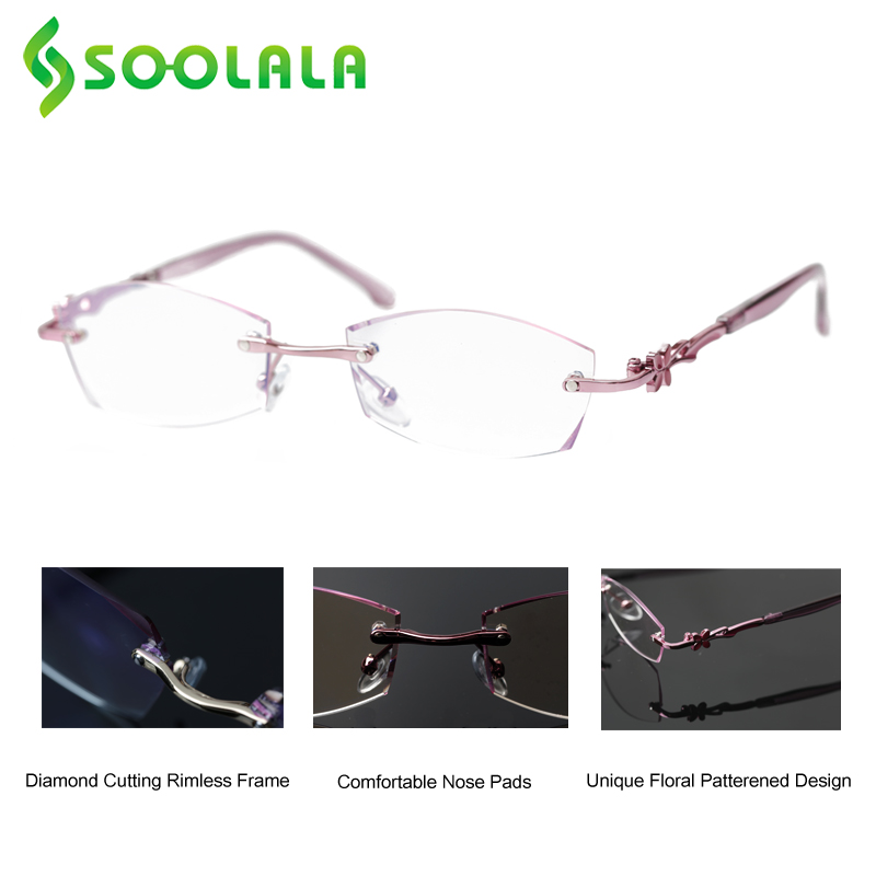 SOOLALA Diamond Cutting Rimless Reading Glasses Women Unique Floral Patterened Optical Eyeglasses Presbyopic Glasses With Cases
