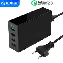 Orico QC 2.0 Cepat Charger 4 Port USB Desktop Charger QC2.0 5V2.4A Max Output untuk Ponsel Tablet(China)