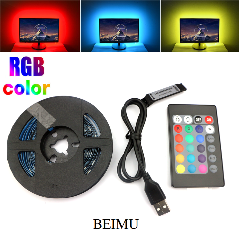 RGB 5050 USB LED Strip 5V Ribbon Flexible Led Light Strip USB With Mini 24keys Remote TV Background Lighting 5M