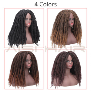 Image 2 - AISI HAIR Dreadlock Marley Braids Ombre Braiding Hair Wig Synthetic Afor Kinky Curly Wig Black Ombre Brown for Women/Men
