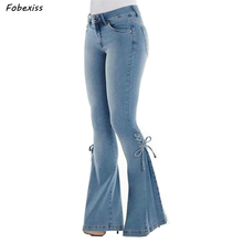 Jeans Women Plus Size High Waist Bell Bottom Jeans Streetwear Skinny Flare Jeans Push Up Denim Black Jeans Fall 2019 Woman Pants цены онлайн