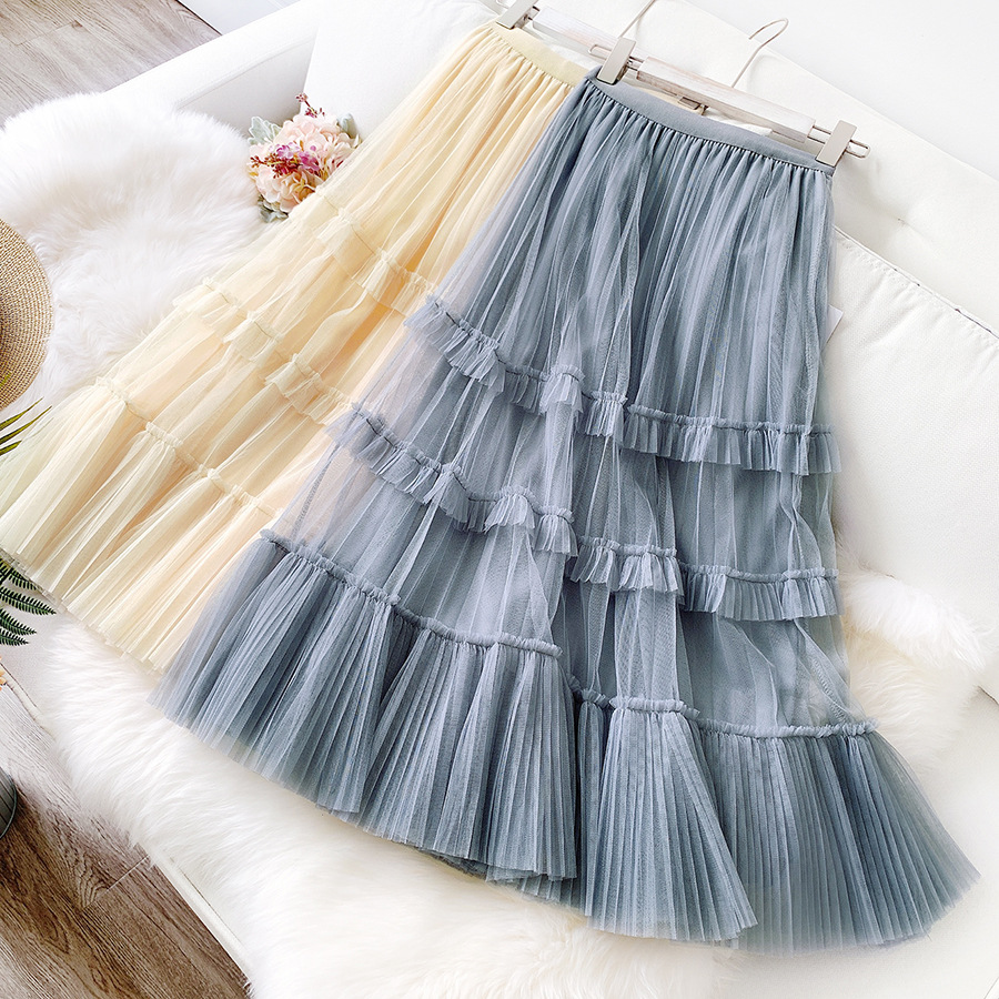 LANMREM 2020 NEW Spring And Summer A-line Double Multi-layer Mesh Halfbody Skirt Wholesales Ruffles High Waist WL20302