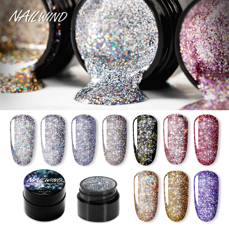 NAILWIND Gel Nail Polish Painting Glitter Diamond Dazzling Gel Nail Varnish Hybrid Semi Permanent Base For Top Manicure Nail Art
