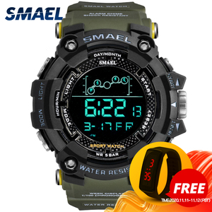 Image 1 - Mens Watch Military Water resistant SMAEL Sport watch Army led Digital wrist Stopwatches for male 1802 relogio masculino Watches