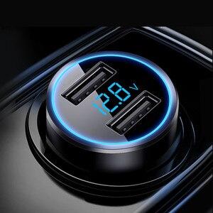 Автомобильное зарядное устройство QC3.0 с двумя USB светодиодными дисплеями автомобильное зарядное устройство универсальное автомобильное з...