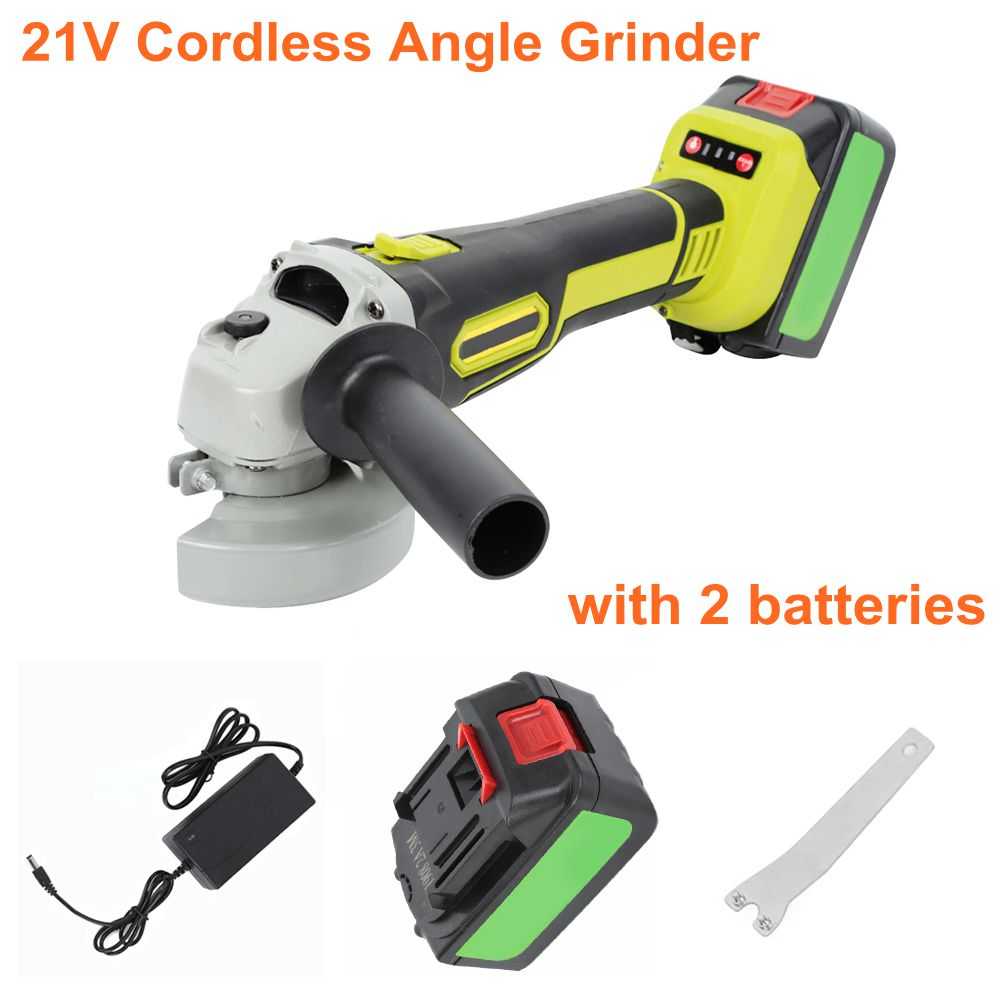 21V Cordless Angle Grinder With Storage <font><b>Box</b></font> Brushless Reliable Motor Side Trimmer Adjustmentable Speed Angle Grinder Power Tool image