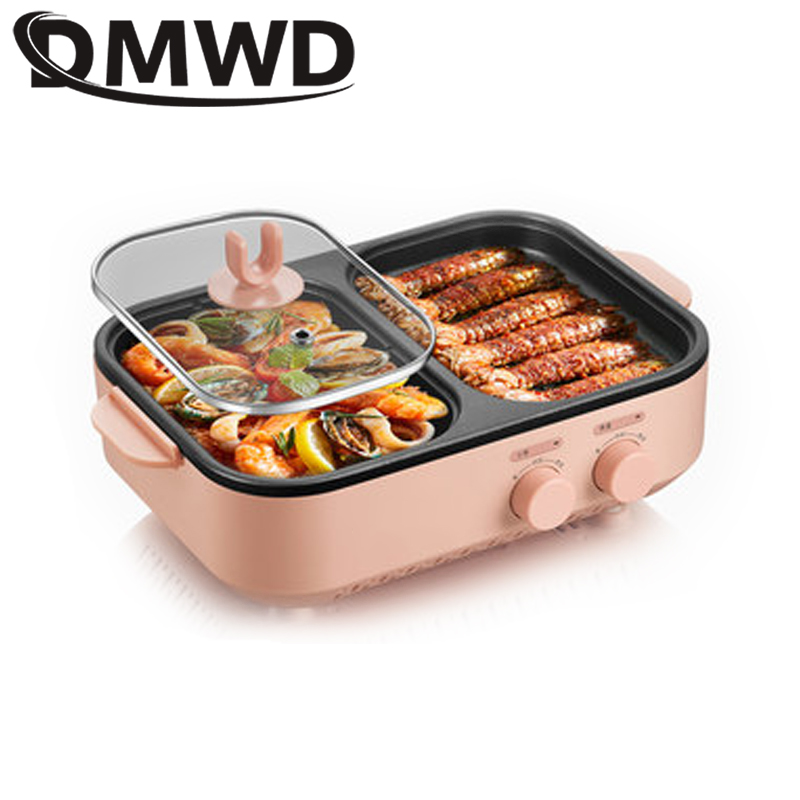 DMWD Multifunction Electric Grill Smokeless Barbecue Baking Plates Hot Pot Steak Korean BBQ Non-stick Grilled Meat Machine Oven