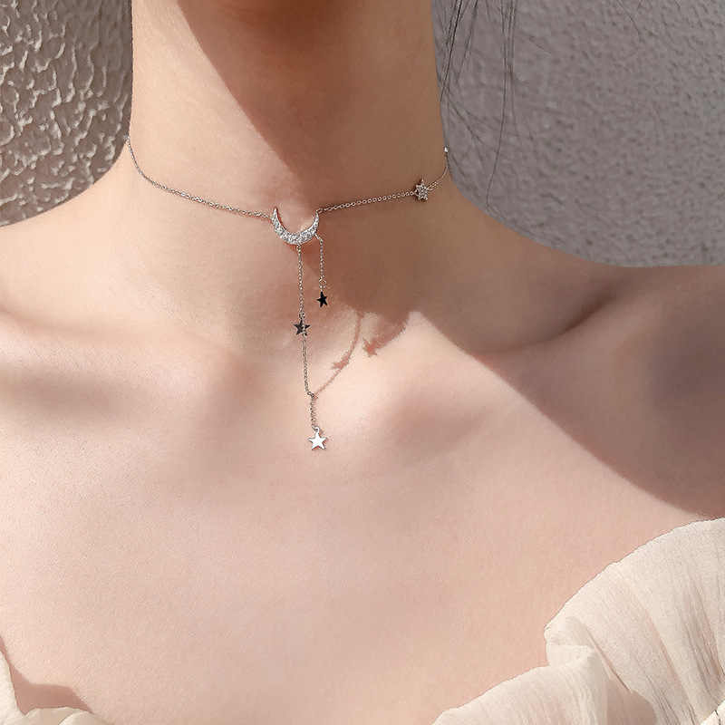 Moda słodkie gwiazdy księżyc Tassel naszyjnik proste podkreślające temperament posrebrzany łańcuszek do obojczyka dla kobiet wisiorek biżuteria