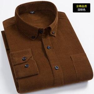 Image 2 - הגעה חדשה אופנה סופר גדול טהור כותנה קורדרוי סתיו גברים ארוך שרוול מזדמן רופף גדול מזדמן חולצות בתוספת גודל M 7XL 8XL
