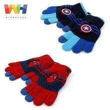 Зимние Детские перчатки Marvel Человек-паук Капитан Америка мальчик сенсорный экран вязаные перчатки зимние теплые Висячие веревочки варежки