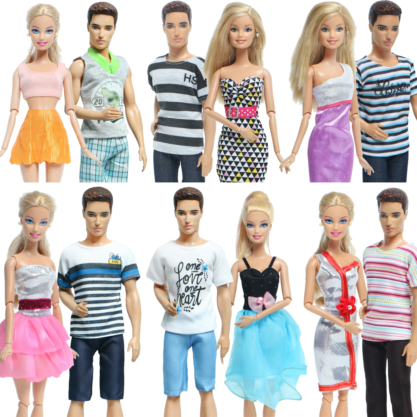2 Pcs Outfits /Set Summer Doll Dress Colorful Mini Short Gown Skirt For Barbie Doll + Ken Doll T-shirt Pants Clothes Accessories