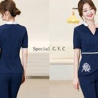 Slim Fitting Scrubs Deep V Neck Beautician Uniform Medical Nursing Workear Short Sleeve Embroidered Flowers Beauty Salon Clothes