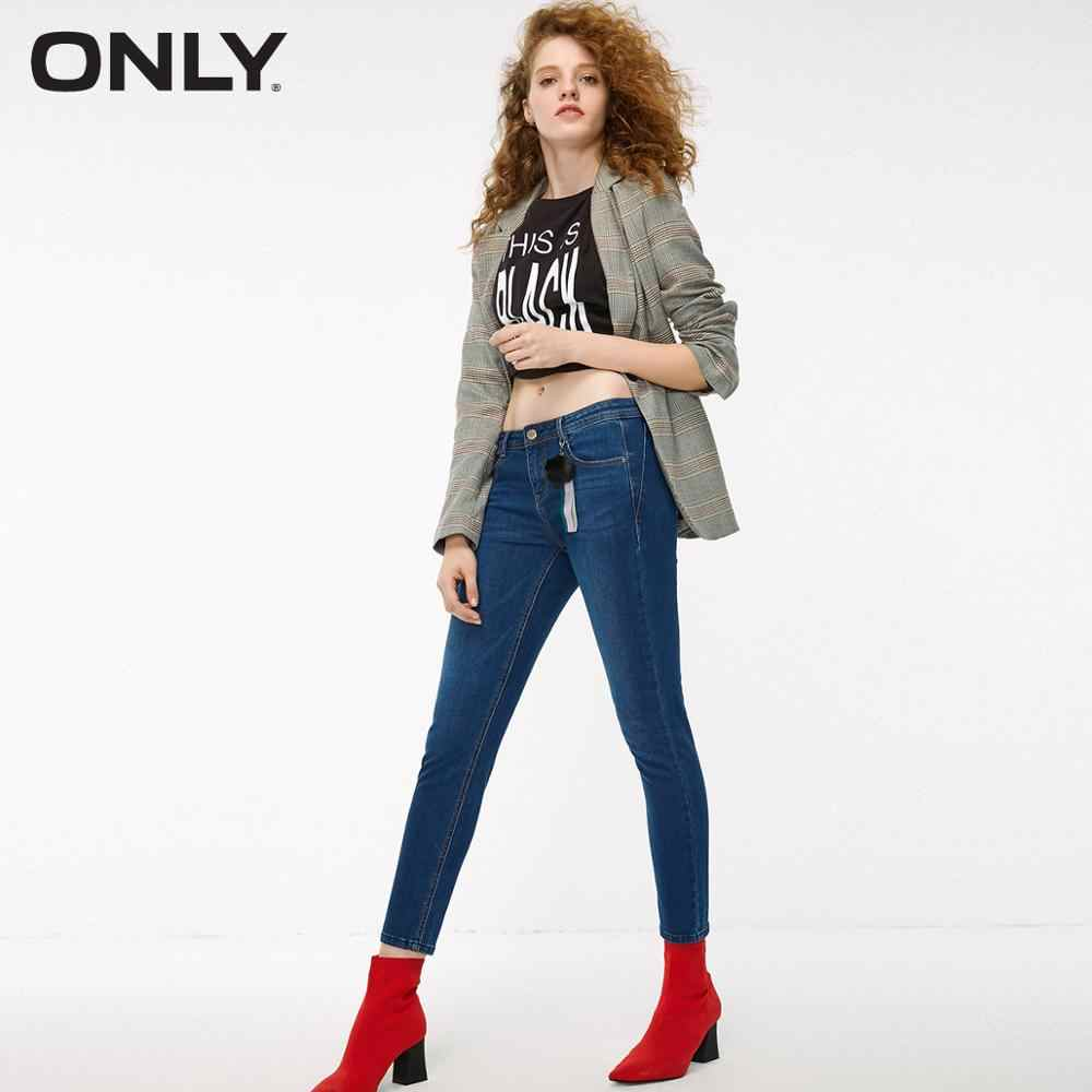 ONLY women's summer new low waist slim skinny pencil pants cropped solid color jeans  |  118349611