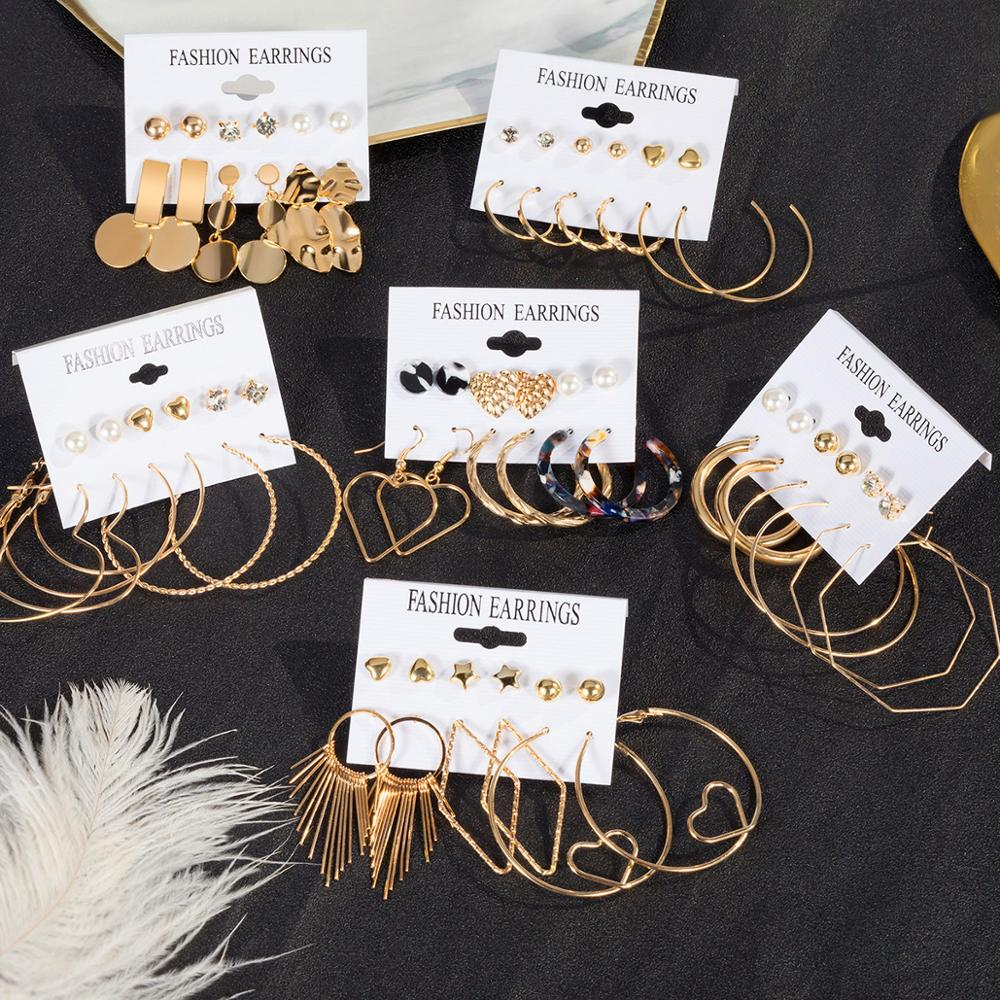 BICUX Vintage Acrylic Statement Drop Earrings Set For Women 2020 Fashion Jewelry Korean Geometric Gold Hanging Dangle Earring
