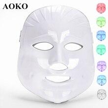 AOKO 7 цветов светильник светодиодный Фотон Маска для лица перезаряжаемая PDT против акне удаление морщин омоложение кожи красота машина спа