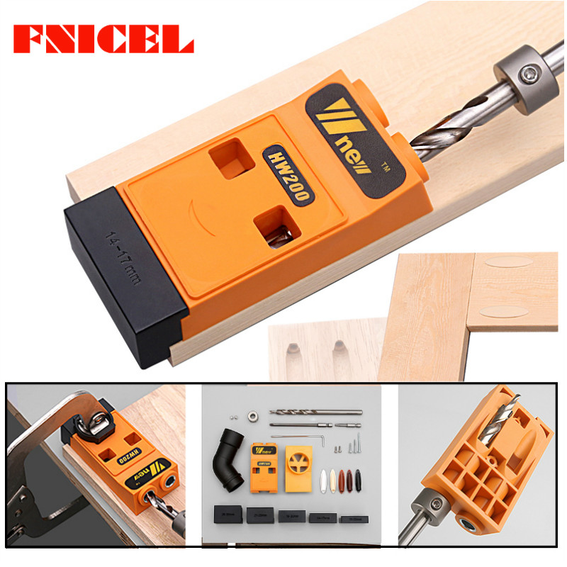 Woodworking Inclined Hole Locator Puncher Locator Pocket Hole Jig Kit System W/ Step Drill Bit & Accessories DIY Tool