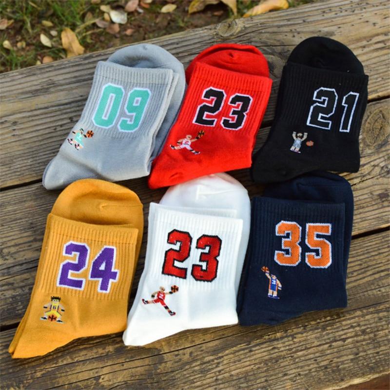 Баскетбольные носки Super Star с номером 23, 09, 35, 24, 21, элитные спортивные носки, смешные Веселые носки для влюбленных, чулки, мужские носки