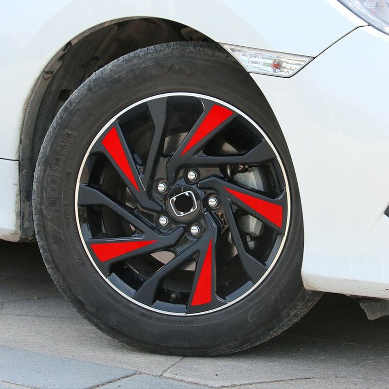 Wheel Hub Sticker Carbon Fiber Fashion Dynamic Car Decorative Accessories For Honda New Civic 2016 2017 2018