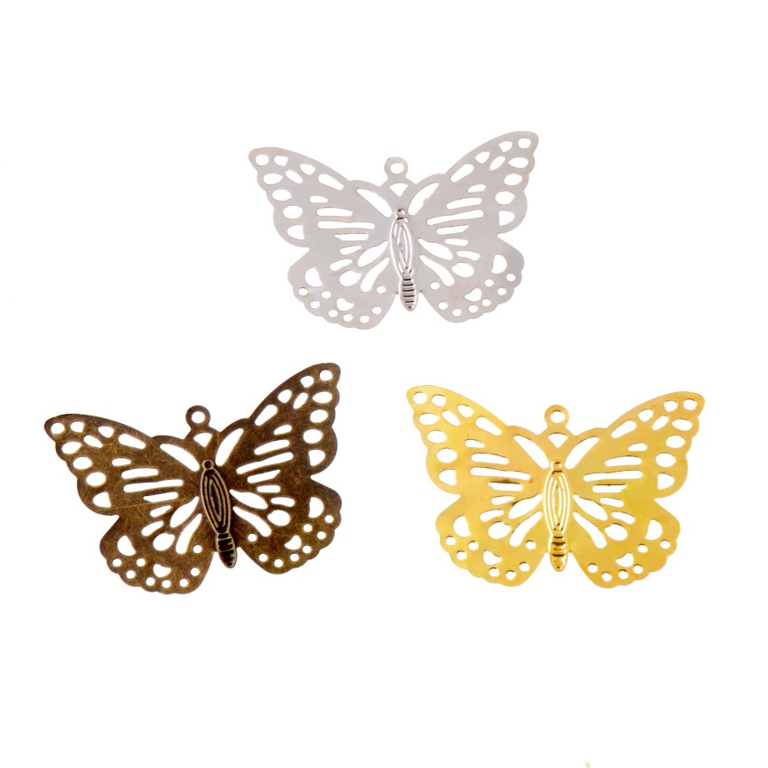 Free Shipping 10Pcs DIY Jewelry Accessories Butterfly Connectors 35x51mm Metal Leaf Ancient Headwear Hairpin Handmade Material