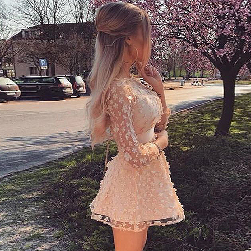 Image 2 - 2019 summer new elegant women's mini dress sky blue beige pink long sleeve lace A word dress celebrity party dress Vestidos-in Dresses from Women's Clothing