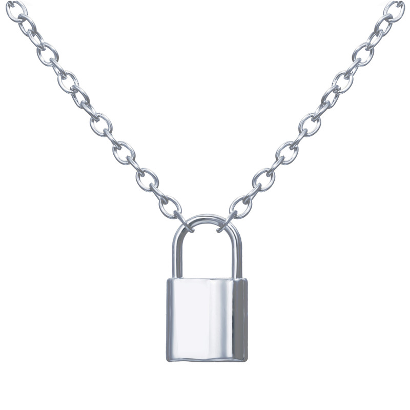 Ha36fc7790a104e04bc96ab433dd4a730O - Punk Chain Golden/Silver Color With Lock Necklace For Women Men Padlock Pendant Necklace Statement Gothic Fashion Jewelry
