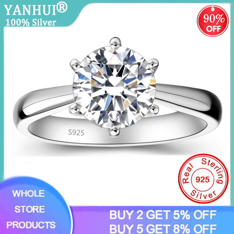 YANHUI Real 925 Sterling Silver Moissanite Ring With Silver Certificate 1ct High Quality Anniversary Wedding Rings For Women