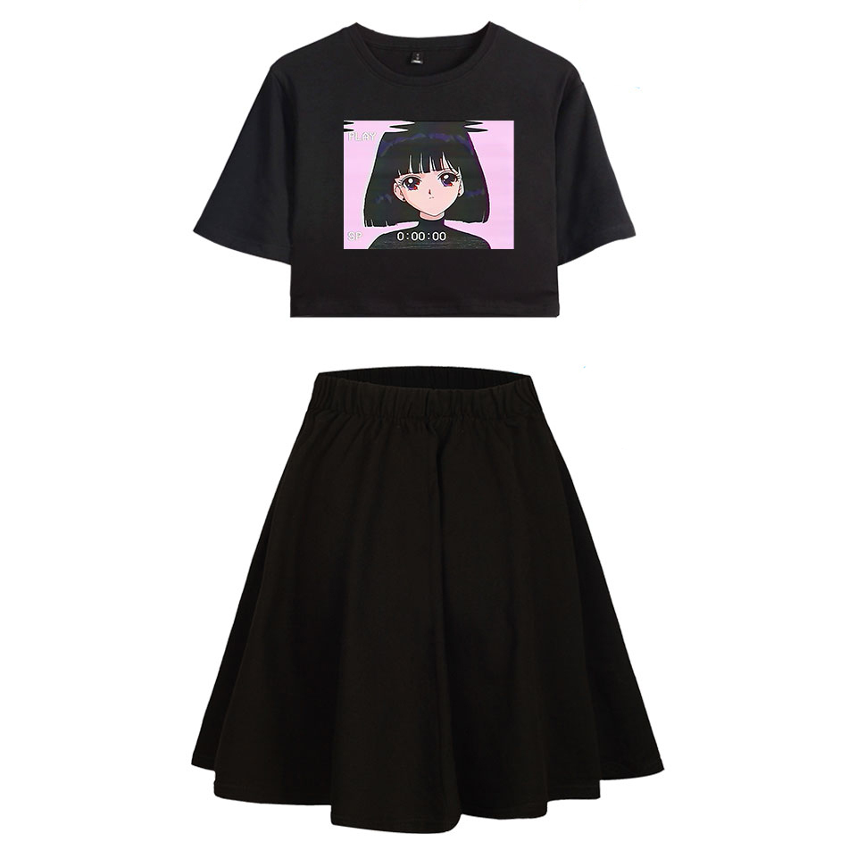 Girls Sweet Pleated Skirts Sets Fashion Women Dew Navel T-shirt Skirt Suit Vaporwave Style Print T-shirt Black Sexy Crop Tops