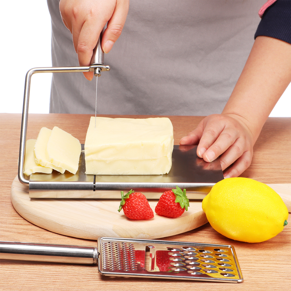 Cheese Slicer Wire Cutter Wire Cheese Cutting Knife Tools Serving Board Stainless Steel Hard Semi Hard Cheese Butter