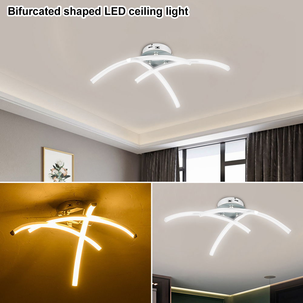 Modern LED Ceiling Light 21W 3000K Night Light Forked Shaped Ceiling Lamp For Living Room Decor Lamp Modern Curved Design