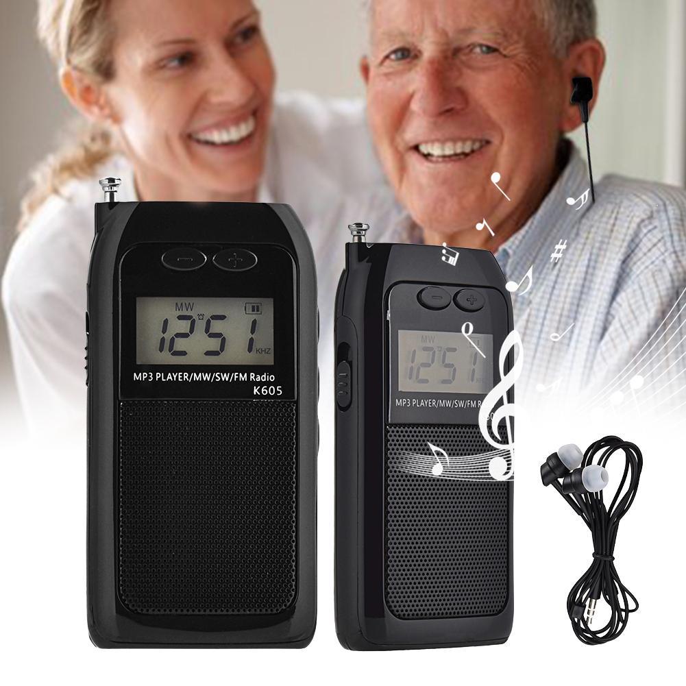 K-605 Mini Pocket Stereo Radio LCD Digital Radio FM AM Shortwave Radio Receiver Music Player Portable Rechargeable Radio Battery