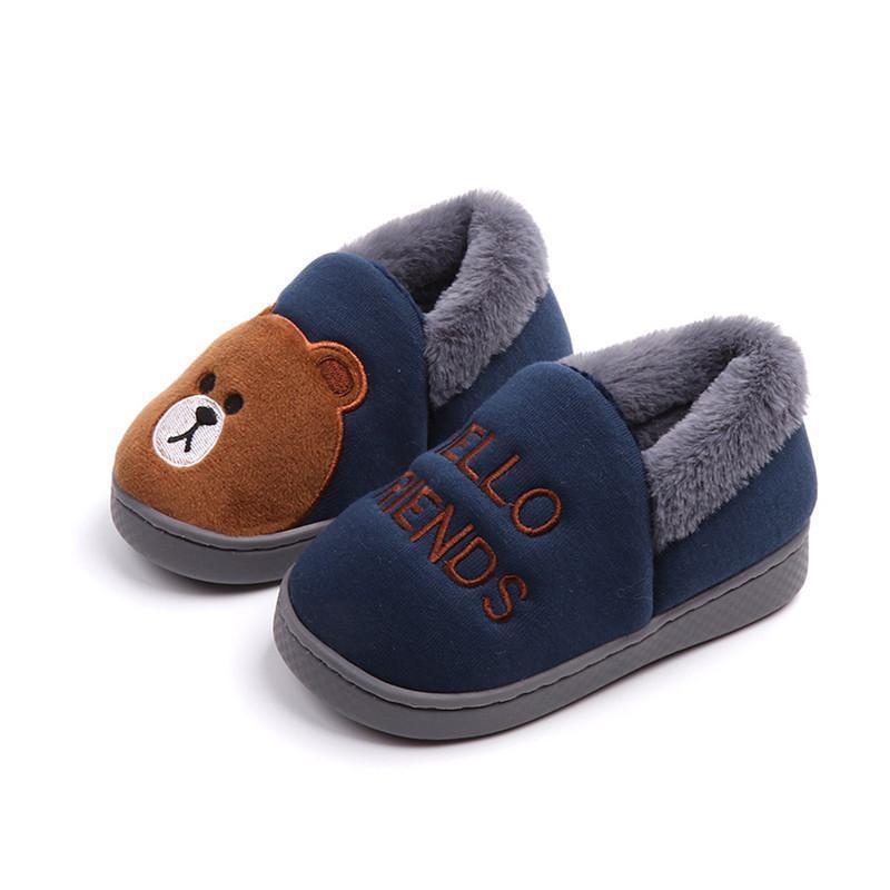 Home Slippers For Children  Cute Cartoon Bear Slipper Animal Shoe Warm Non-slip Soft Bottom Slippers Boys And Grils Baby