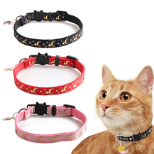Breakaway Cat Collars with Bells Golden Moons and Stars Adjustable Safety Puppy Collar Glow in The Dark with Pendant