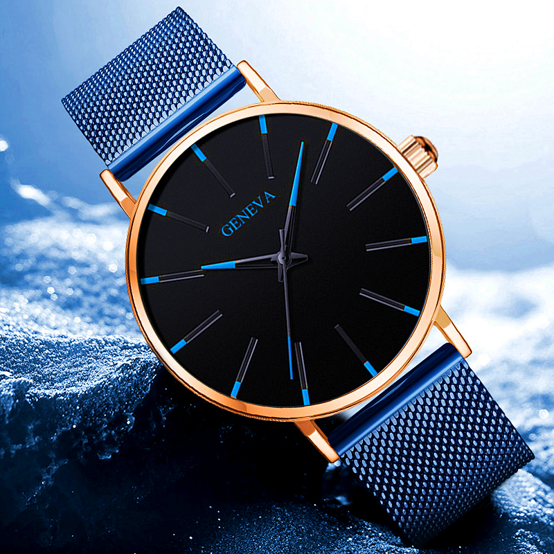 Uhren Herren Geneva Fashion Mens Watch Blue Mesh Belt Watches Classic Luxury Quartz Wrist Watch Sports Clock Relogio Masculino