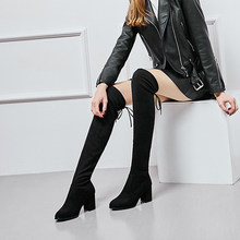 DIHOPE Size35-41 Winter Over The Knee Boots Women Stretch Fabric Thigh High Sexy Shoes Woman Long Bota de mujer(China)