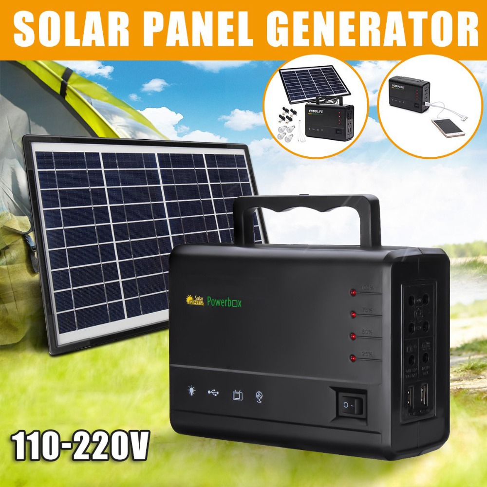 Reusable Solar Generator with 4 LED Bulbs Used as Power System Home and Outdoor Camping