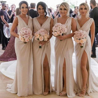Champagne Long Chiffon Bridesmaid Dresses 2020 Elegant V neck Pleats Side Slit Sleeveless Wedding Party Dress Formal Party Gowns